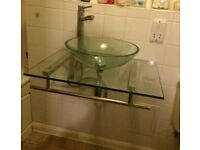 Glass bowl sink unit complete with mixer tap. Like new-Hardly used.