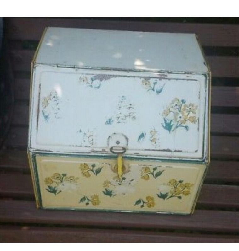 Vintage Tin Metal Pie Safe Bread Box Double Door Yellow Floral