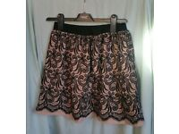 River island skirt 8 beige nude black mesh stretch small s vgc mini casual short