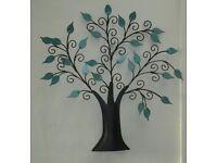 "Pretty 'BLACK METAL TREE - Turqouise leaves & scroll, 15"" x 15"" free standing or hang - vgc"