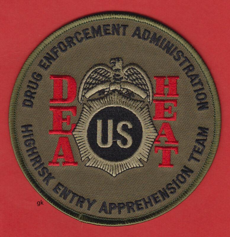 DEA HEAT HIGHRISK DRUG ENFORCEMENT SHOULDER PATCH   (Subdued -Green/Red).