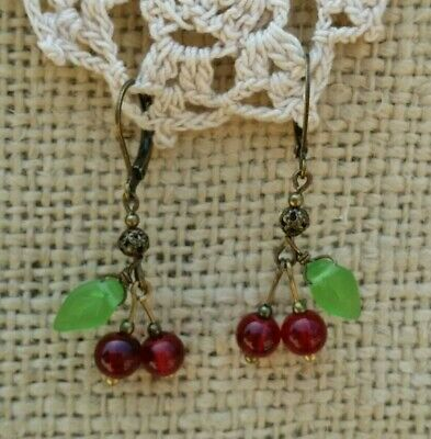 Vintage Style Cherry Earrings Red Glass Bead Green Leaf Filigree Dangle Drop - Glass Leaf Earrings