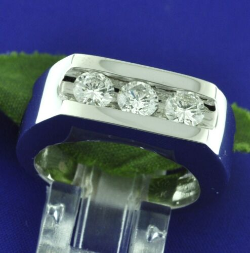 3 Stone 1.12 Ct 14k Solid White Gold Mens Natural Diamond Ring 12 Grams Made Usa