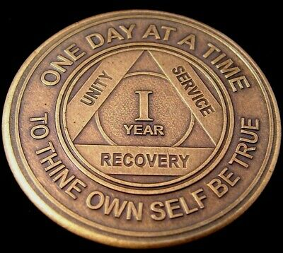 Alcoholics Anonymous AA 1 Year Bronze Medallion Token Coin Chip Sobriety Sober