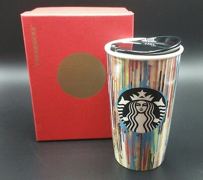 New 2015 Starbucks Paint Drip Rainbow Double Wall Ceramic Traveler Tumbler, Mug
