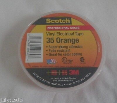 1 New Roll Usa 3m Scotch 35 Orange Electrical Tape 34 X 66 7 Mil Free Ship