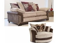 QUALITY JUMBO CORD UK-MADE 2 SEATER SOFA AND LARGE TWISTER CHAIR
