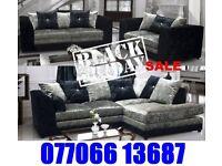 Brand Black Friday corner or 3+2 crushed velvet sofa for sale fast delivery