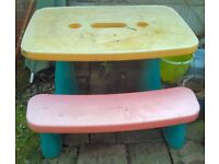 Outdoor childrens toys - Little Tikes plastic table and bench