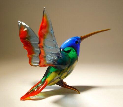 Beautiful Blown Glass Blue, Red and Green Hummingbird Figurine