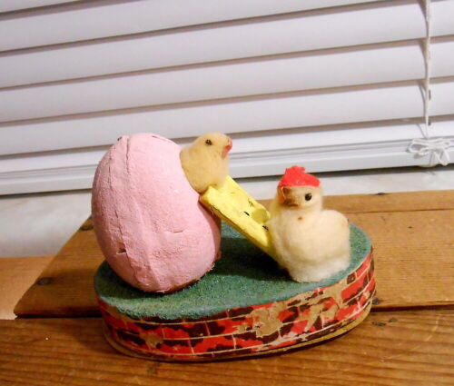 Vintage Japan Cotton Chick Easter Egg Candy Container