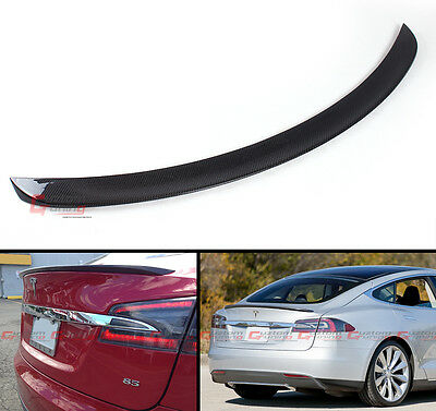 TESLA MODEL S BASE SEDAN GLOSSY CARBON FIBER FACTORY STYLE TRUNK LID SPOILER