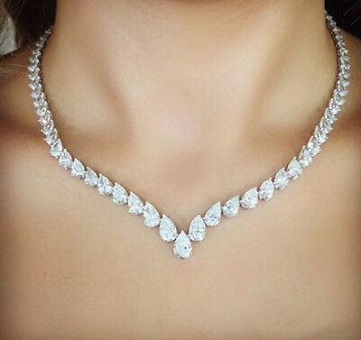 - 40 Ct Pear Cut VVS1/D Diamond Tennis Necklace Solid 14k Real White Gold Over
