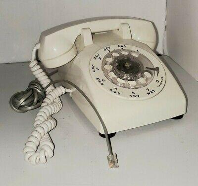 Vintage ITT Brand Cream Off White Rotary Desk Modular Phone Antique Cords Decor