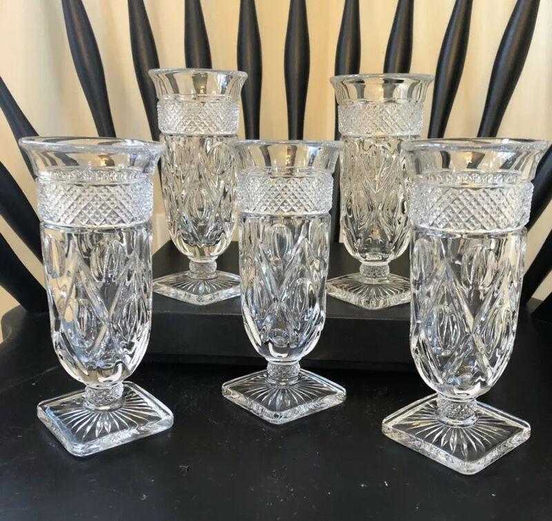 "Vintage Imperial Glass Cape Cod Parfait Glasses Approx. 6"" Total Length Lot Of 5"