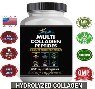 HYDROLYZED COLLAGEN 1000 mg BEST Anti Aging Skin Bone Hair Loss Nails 120 pills
