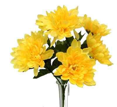 5 Mums YELLOW Wedding Bridal Bouquet Silk Flowers Centerpiece Artificial flowers Yellow Bouquet Flowers