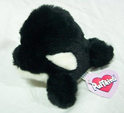 """Puffkins TOBY THE KILLER WHALE ORCA 5"""" Plush STUFFED ANIMAL NEW"""