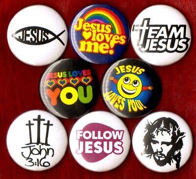 JESUS CHRIST 8 NEW button pin badge team jesus follow loves me you john 3:16