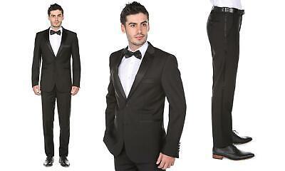 Gino Vitale 2-Piece Classic Fit Notch Lapel Tuxedo w/Bow Tie ~ Black ~ 48L x (Classic Notch Tuxedo)