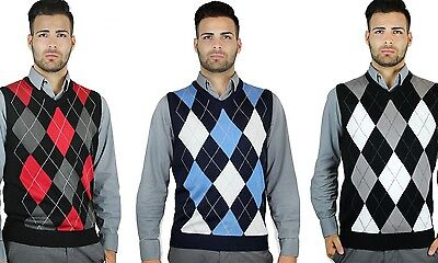 Mens Classic V-neck Sweater - BLUE OCEAN MEN'S V-NECK CLASSIC ARGYLE SWEATER VEST (SV-255)