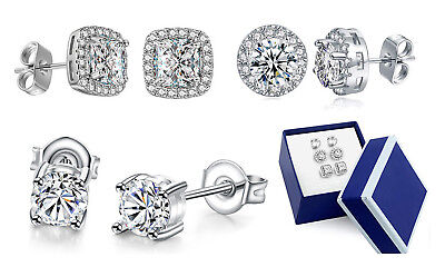 Crystal White Gold Earrings (3 Pairs Stud Earrings in 18K White Gold Halo Round with Swarovski Crystal +)