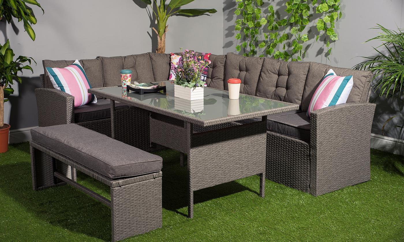 Garden Furniture - Outdoors Rattan Corner Garden furniture Sofa 8 Seater with Bench Dining Set Grey