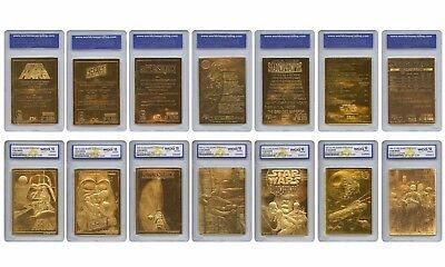 Star Wars Lot Set of 7 Cards 23 Kt Karat Gold Card Sculptured Graded GEM MINT 10
