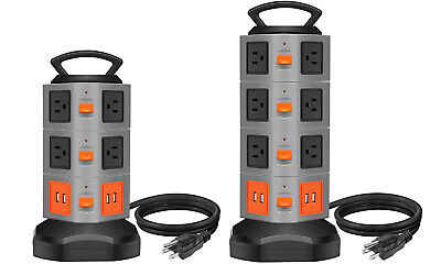 Power Strip Tower Surge Overload Protector, Multi Plug Extender Extension Cord