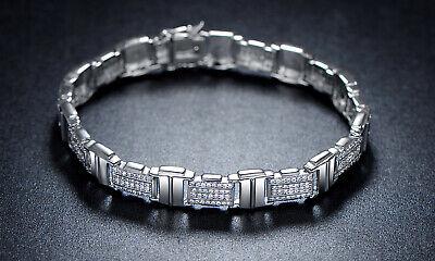 "Sevil 18K White Gold Plated Belt Bracelet Made With Swarovski Elements 7.5"""