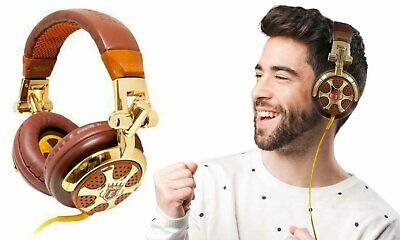 Billionaire DJ-Style Stereo Headphones Gold/Brown
