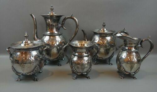 Antique Meriden B Co Silverplate  Victorian Coffee Tea Server Set 1869
