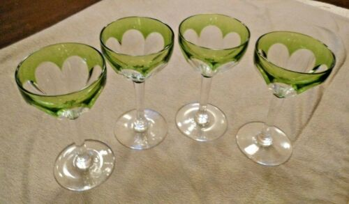 Cut to Clear Green Color Cordial Liqueur Glasses Set of 4