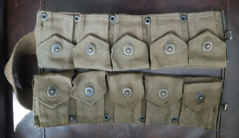 Original US Army Military Issue M1 Garand Ammo Cartridge Pouch Belt