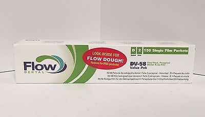 Flow Dental Dv-58 Vinyl Pack Periapical 150 Single X-ray Film Size 2 Value Pak