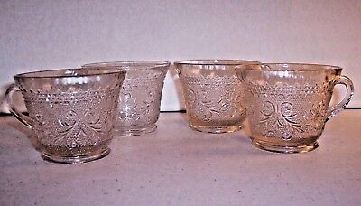 4 Vintage Indiana Tiara Clear Sandwich Glass Punch Coffee Tea Cups