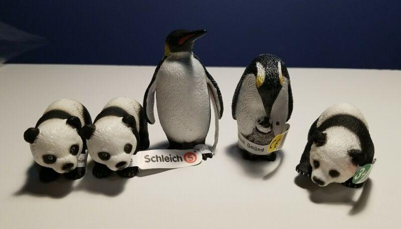 New RETIRED Schleich Animals, (2) PENGUINS & (3) PANDA BEAR CUBS, #14652 & 14331