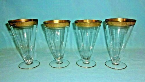 """Tiffin Optic Panel Vintage 6"""" Water Wine Glass With Gold Rim...SET OF 4"""