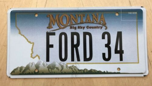 """MONTANA  GRAPHIC BIG SKY VANITY LICENSE PLATE """" FORD 34  """"  1934 ROADSTER"""
