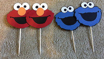 24  Sesame Street Cookie Monster or Elmo Cupcake Toppers. /Birthday - Cookie Monster Decorations