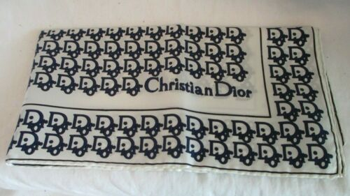 VINTAGE Blue/White CHRISTIAN DIOR TROTTER Italy Monogram Hand-Rolled Silk Scarf