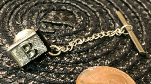 Vintage SWANK Initial B Letter Silvertone Black Tie Tack Clasp
