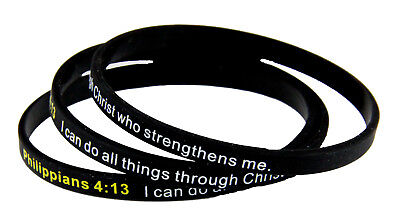 8130003 Set of 3 Philippians 4:13 Thin Silicone Bracelet Band I Can Do All Thing - Thin Bracelets