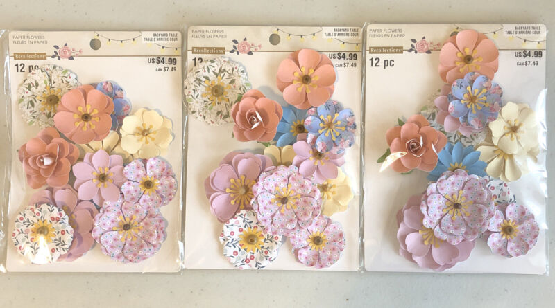 3 Packs (12 pc ea) Recollections Paper Flowers Backyard Table Embellishments