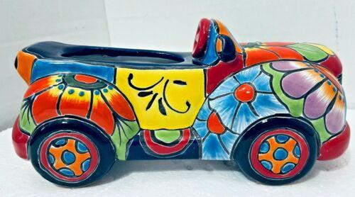 "Mexican Talavera Planter Animal Truck Car Pot Folk Art Pottery 11"""