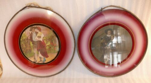 2 Antique Victorian Flue Covers, young Couple & Children w/ Bird Colonial Red