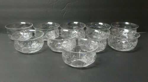 """Set/9 Antique Rock Crystal 4.5"""" Dessert / Finger Bowls , c. 1900"""