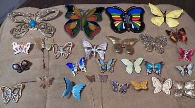 Lg. Lot 27 Plastic & Metal Butterflies Pins,Thermometer Magnet,Sun Catcher Etc - Butterfly Catcher Costume