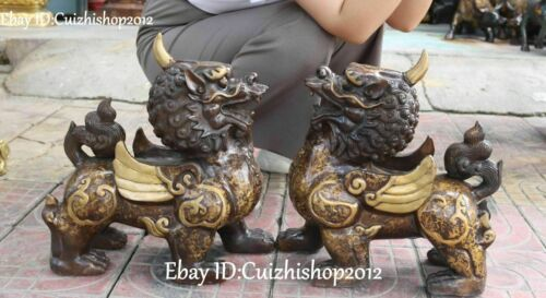 "16 ""Single Bronze Fly Wing Unicorn Beast Foo Fu Dog Guardian Lion Statues Pair"