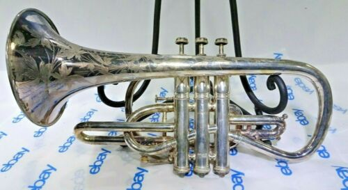 Vintage Conn Elkhart Ind. Cornet With Case owned By Leonard B Smith PAT 1886 SN